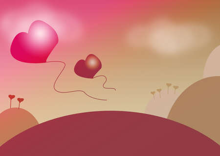 landscape with hearts Stock Photo - 13773302