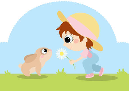 bunny and little girl photo