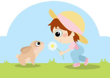 bunny and little girl photo