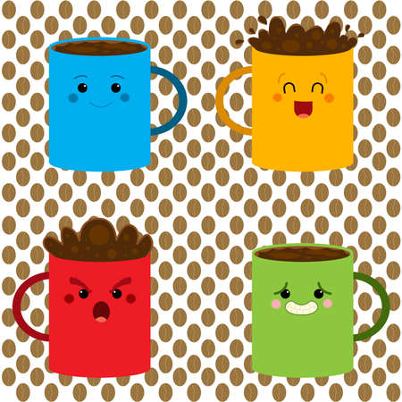 Set of colored coffee mugs in different expressions photo