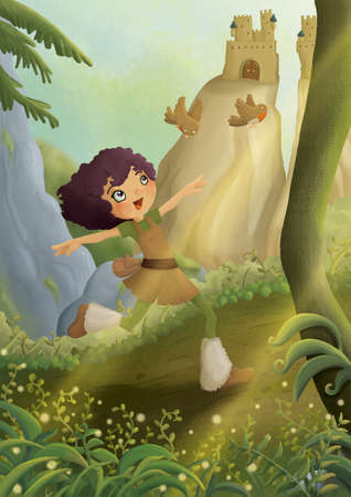 enchanted forest: viking girl run in enchanted forest Stock Photo