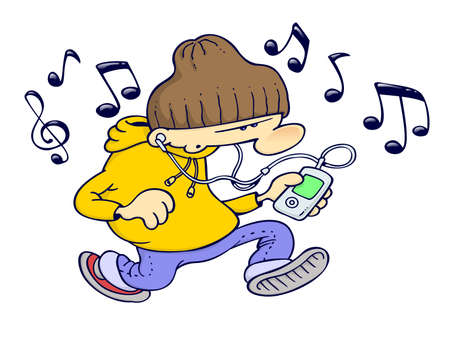 A youngster in hip-hop gangsta clothes listening to music from a portable media player
