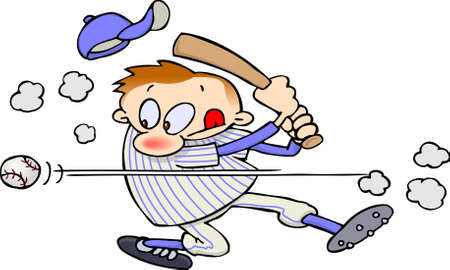 Baseball player swings a bat but miss the ball