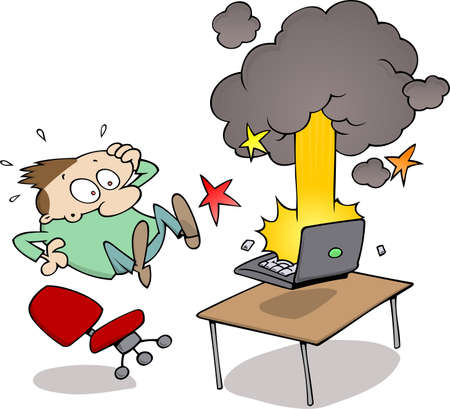 Surprised male watching his computer blow up