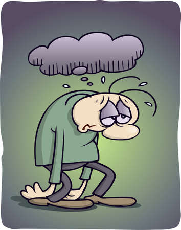depresi�n: Deprimidas de dibujos animados Foto de archivo