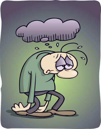 depressione: Personaggio dei cartoni animati depresso