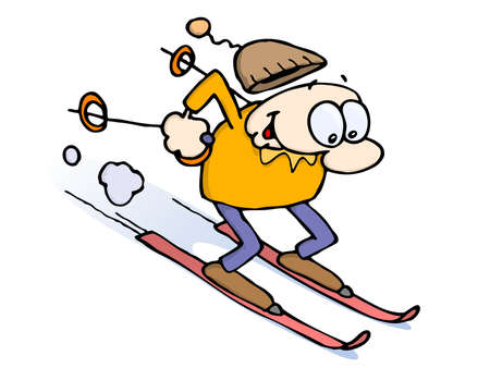 Excited male skiing downhill