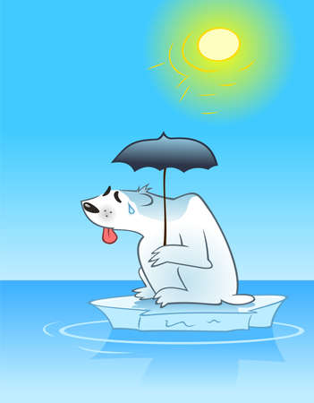 Sweating polar bear sitting on a small ice floe with a parasol in his paw