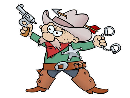 Cartoon sheriff with handcuffs, revolver, and tin star, wearing chap and cowboy hat pentrated with an arrow. Stock Vector - 9926129