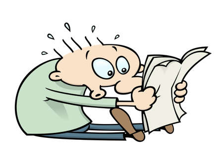 Cartoon character reads shocking news in the newspaper