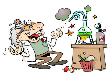 lab coats: Mad scientist laughing insanely by his laboratory desk Illustration