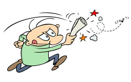 Cartoon guy chasing a fly with a newspaper