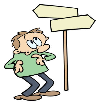 Cartoon character looking at road signs pointing in different direction, wondering which way to chose. Vector