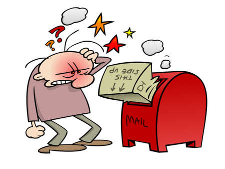 Frustrated cartoon character trying to fit his fragile package into a mailbox