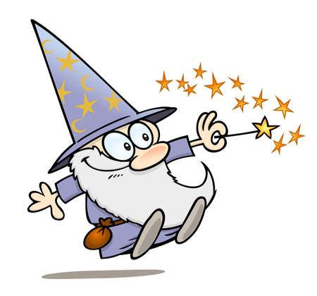Gelukkig cartoon wizard met een toverstaf
