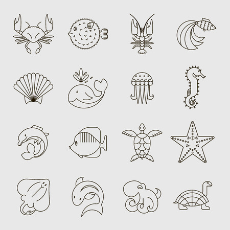 Set of line style logotype templates with sea creatures. Isolated on background and easy to use