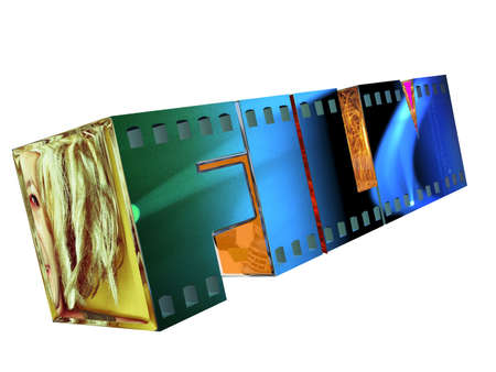 three dimensional word film with images related to the movie industry as textures Stock Photo