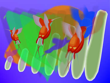 three orange humming birds against a bright predominately green abstract background
