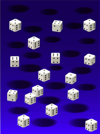 white dice and black holes against a blue background texture. 2D illustration Stock Photo