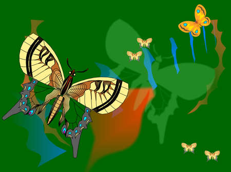 Illustration of a butterfly on a background reminiscent of paper collages