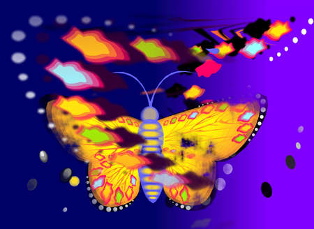 reminiscent: Illustration of a butterfly on a background reminiscent of paper collages