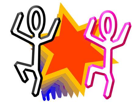 joyfull: brightly colored stick figures dancing in a happy, joyfull and uninhibited manner Stock Photo