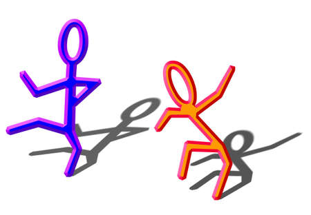 brightly colored stick figures dancing in a happy, joyfull and uninhibited manner Stock Photo