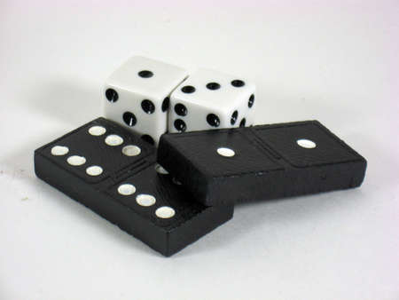 arrangement of dominoes and dice