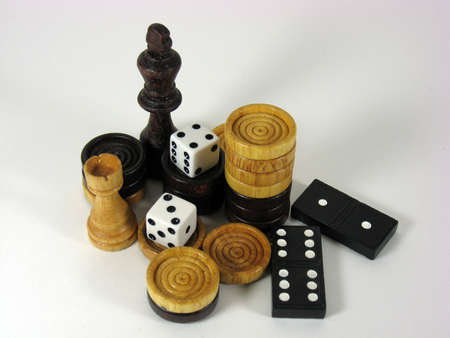 arrangement of dominoes and other game pieces