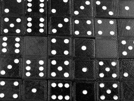 arrangement of dominoes, various values signified by dots Stock Photo