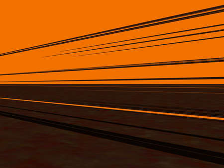 parallel world: Parallel lines over a very simple landscape. Metaphor for the importance that good communication strategies have in todays world Stock Photo