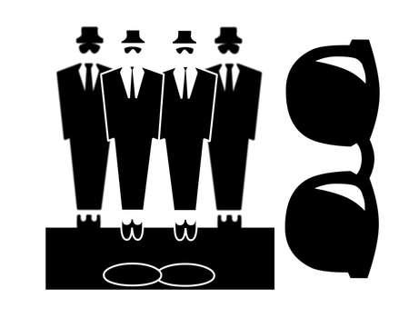 Vier mannelijke figuren gekleed in zwarte pakken en zonnebrillen eruit bouncers of Blues Brothers en een grote zonnebril Stockfoto