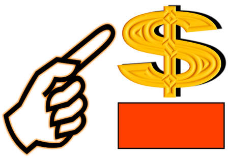 A hand with a finger pointing at an elaborate dollar sign. A space underneath the dollar for adding text