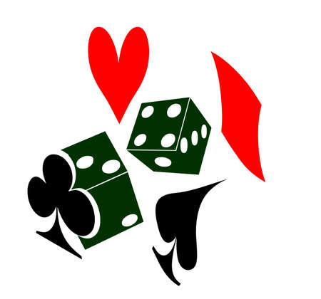 two die or dice and a heart spade diamond and club representing playing cards photo