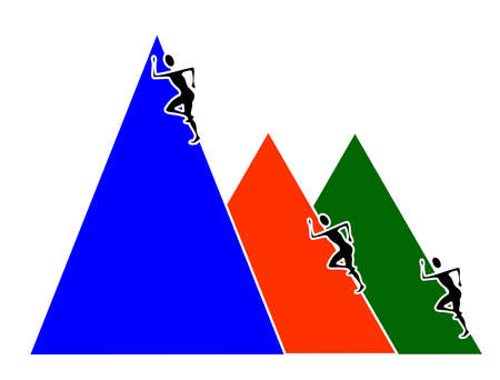Three peaks each with a climber. The climber on the biggest peak is about to win and achieve his goal