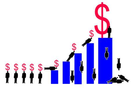 企業の種類のドル記号を運ぶバー グラフの上昇します。最も高いバーの図は、最大のドル記号
