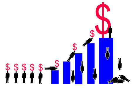 corporate types climbing a bar graph carrying dollar signs. The figure on the tallest bar has the biggest dollar sign Stock Photo