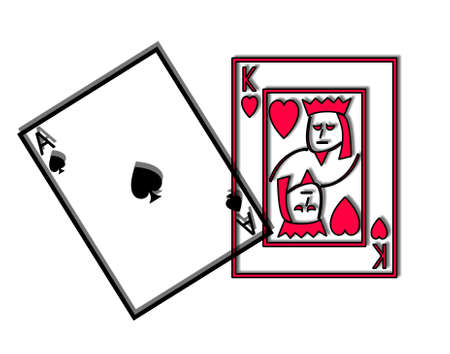 twenty one: King of hearts and Ace of clubs, winning cards in twenty one and the top card hand in pontoon, a royal pontoon.
