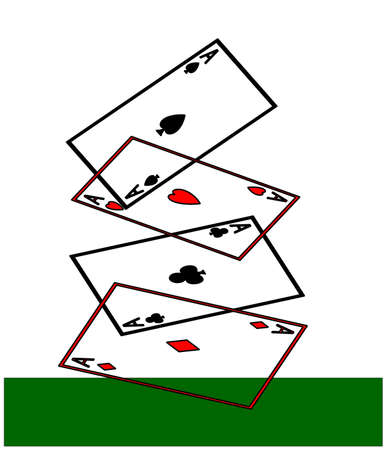 Four aces, hearts, spades, diamonds and clubs, playing cards falling onto a green card table. 2D clipart illustration