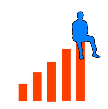 achievment: Figure sitting on top of a bar graph indicating success achievment. 2D illustration orange and blue white background