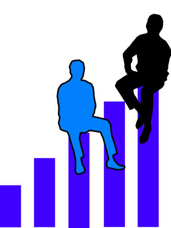 Figures sitting on top of a bar graph indicating success achievment. 2D illustration orange and blue white background