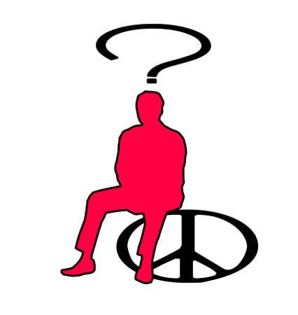 彼の頭の上に疑問符の付いたピースサインに坐っている人の図。道徳と倫理を熟慮 写真素材