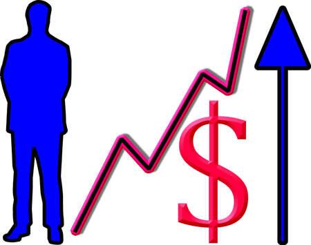 deeds: Conceptual graphic success in business, man, upward graph, dollar sign and upward arrow. Stock Photo