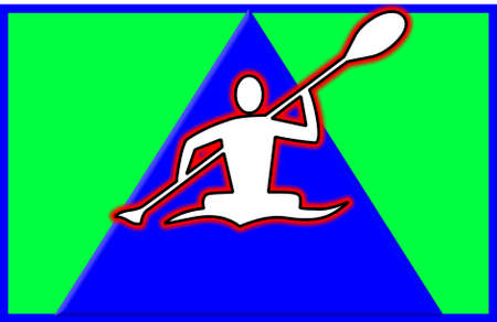 rower on river shaped like arrow head pointing upward