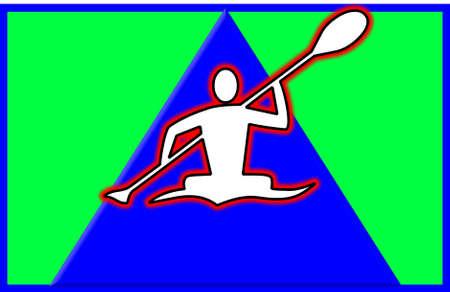 waterway: rower on river shaped like arrow head pointing upward