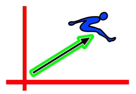 jumper with upward pointing arrow for success