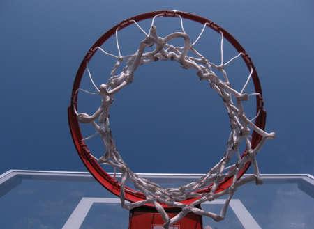 basketball hoop against blue sky Stock Photo