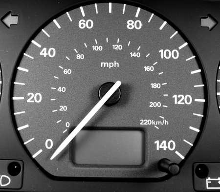 mph: speedometer with needle set firmly on zero mph