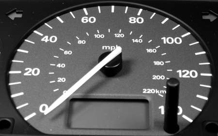 speedometer with needle set firmly on zero mph