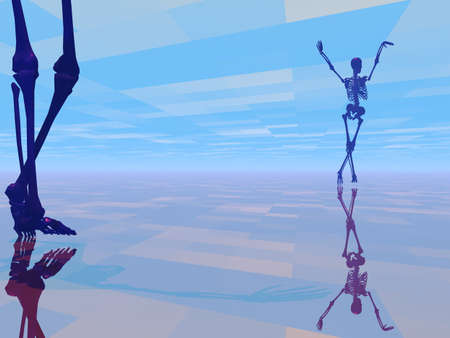 skeleton dancing in a slightly strange setting